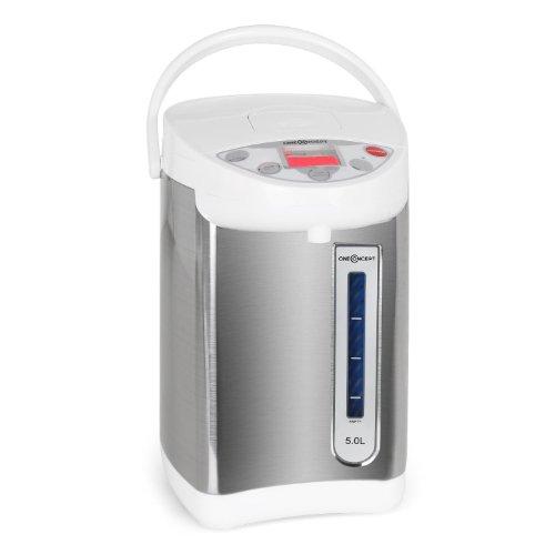 oneConcept Grand Champion - Heißwasserspender, Heißwasserbereiter, Thermo Pot, 680 W, 5 Liter, 5 Temperaturstufen, Edelstahlkessel, Wasserstandsanzeige, LCD-Display, weiß-silber