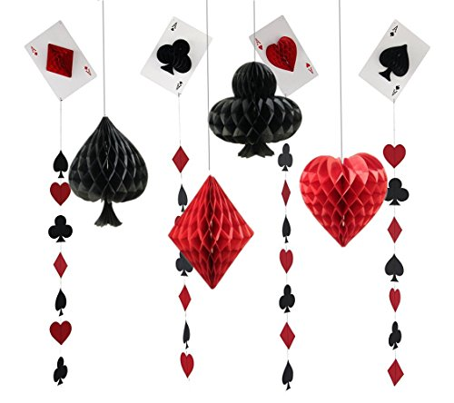 Fonder Mols Las Vegas Casino Party Honeycomb Paper Pom Poms and Porker Card Garlands for Wedding Birthday Kids Bridal Baby Shower Backdrop Decoration Pack of 8