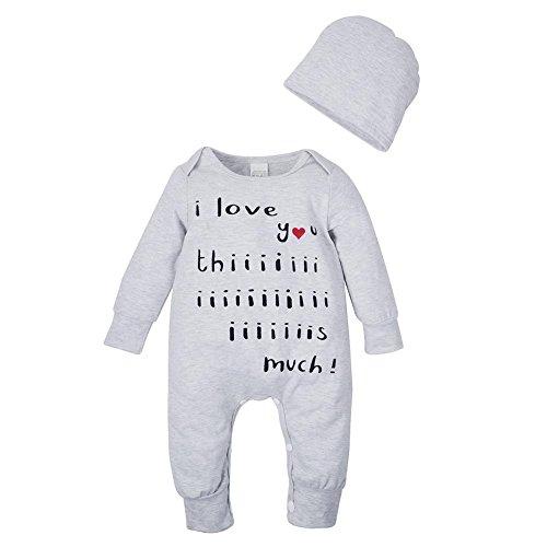 Domybest 2pcs/Set di Abbigliamento Infantile di Cotone Miscelato Tutina dei Neonati + Cappello alla Moda per Bimbi