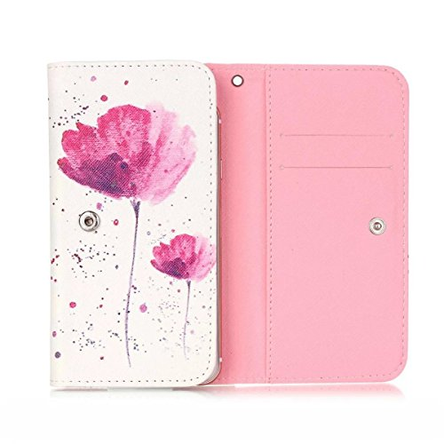 Jitterbug 5.5' Smartphone Case,Universal Wallet Clutch Bag Carrying Flip PU Leather Protective Case with Card Slots for Jitterbug 5.5' - Pink Flowers Floral