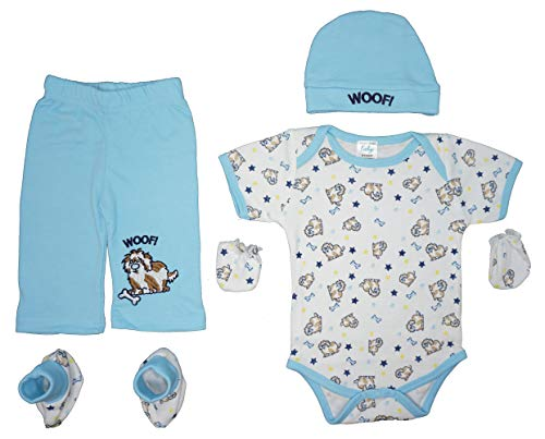 Mon Cheri Baby 5-Piece Baby Layette Gift Set Bodysuit,Pants,Cap,Booties /& Mitts