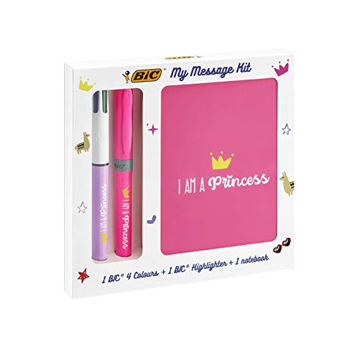 BIC My Message Kit I Am a Princess - Juego de Escritorio con 1 BIC 4 colores Bolígrafo, 1 BIC Highlighter Grip Bolígrafo (Rosa), 1 Libreta Tamaño A6 (Blanca), Pack de 3