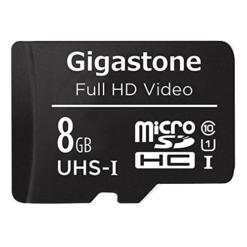 Gigastone 8GB MicroSDHC Speicherkarte + SD Adapter, für Action-Kamera, GoPro, Drohne und Tablet, Lesegeschwindigkeit bis zu 80MB/s, Full HD-Videoaufnahme, Micro SD Karte UHS-I Klasse 10 U1