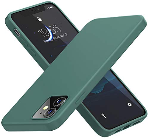 Cordking Compatible with iPhone 12 Case/iPhone 12 Pro Case, Silicone Shockproof Phone Case with 【Soft Anti-Scratch Microfiber Lining】 for iPhone 12 / iPhone 12 Pro 6.1 inch, Midnight Green