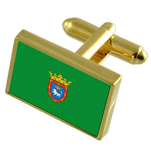 Select Gifts Pamplona España Oro Gemelos de Bandera Cuadro Grabado
