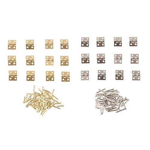 24 Piezas Mini Bisagras para Puerta Ventana, Bisagra de Caja Gabinete para Casa de Muñecas
