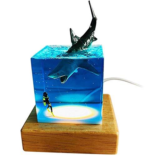 Timagebreze USB LED Buzo de TiburóN OceáNico Luz Nocturna DecoracióN de Dormitorio Regalo de LáMpara de Noche para Dormir para Festival Infantil