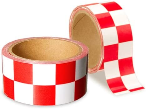 Low Vision Checkerboard Tape Sacramento Mall Red Wide Manufacturer direct delivery 2 White In and