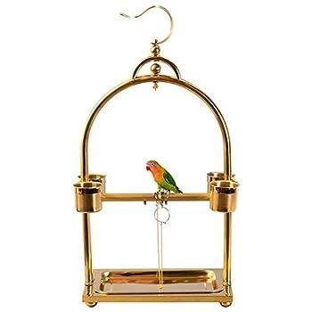 ZWW Pieds pour Cages À Oiseaux, Acier Inoxydable Pendaison Cage À Oiseaux Portable Terrain De Jeux Perche avec Gobelet Et Plateau Amovible,3