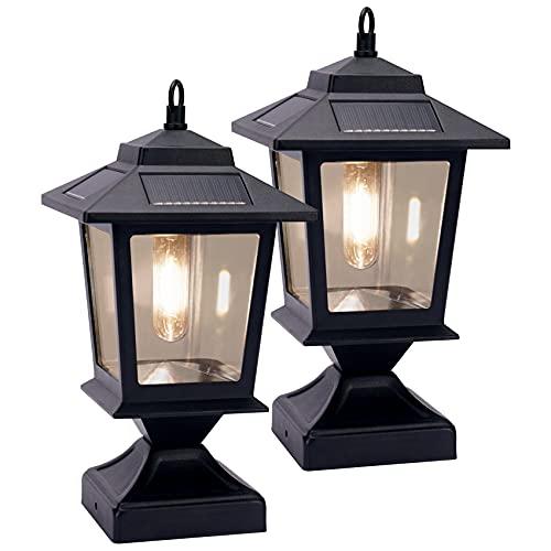 Metal Solar Lamp Post Light 20 Lumen LED Post Cap Light for 4x4 Posts 2 Pack , Sturdy Aluminum Post Cap Light, Warm White Brightness for Garden Yard Patio (Matte Black)
