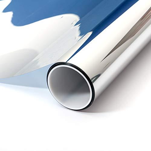 atFoliX Sonnenschutzfolie Innen nach Maß - silberne Spiegelfolie FX Silver Fensterfolie - Länge und Breite auf Wunsch auswählen