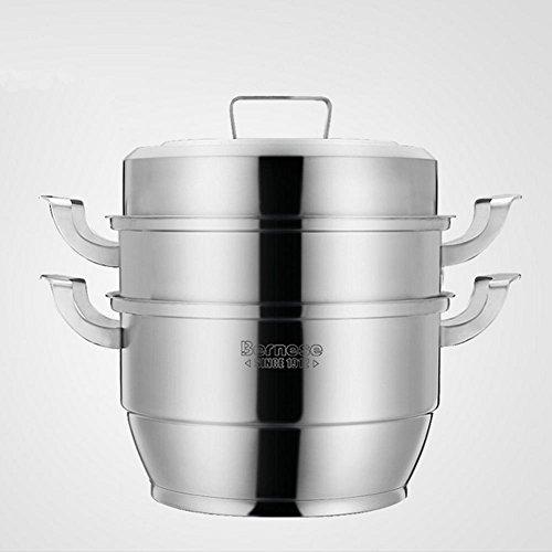 LXZ Acier Inoxydable Cuit Vapeur Cuits À La Vapeur Double Lattice Hot Pot De Soupe Épaisse Deux Couche Double Couche Chinois Kicthen Cuisinière Universel Chaudières Brew Cookware 26,28,30Cm 2 Layers , 26Cm
