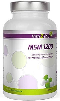 MSM 1200 - 360 Kapseln - (Methylsulfonylmethan) - Meshfaktor 40-60 - Hochdosiert - Premium Qualität