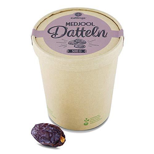 eatlings BIO Medjool Datteln (500g) - Premium fruchtig süß aus Jerusalem - Praktische Dattelbox aus Papier