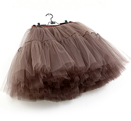 FOLOBE Adulto Suave de la Gasa de la Enagua de Tul Falda del tutú de Las Mujeres del tutú del Ballet del Traje de la Danza de múltiples Capas de la Enagua de la Falda hinchada