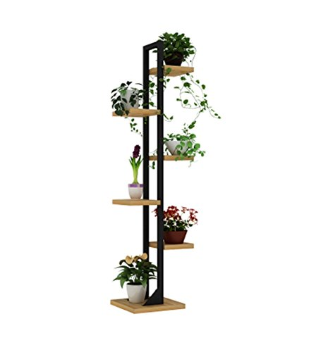 Étagère à fleurs multicouche Support de fleur de fer à 6 niveaux/Supports à fleurs pour salon Chambre à coucher balcon et intérieur/extérieur Étagère de fer à repasser en métal noir Support à prés