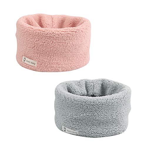 Fleece Warm Kids Scarf Thick Velvet Boys Girls Round Scarves Toddler Kids Winter Neck Warmer (Pink+Light Gray)