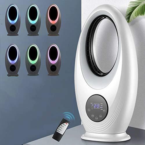 SPLAN Geräuschloser Lüfter, tragbarer Lüfter, fortschrittlicher blattloser Lüfter mit Fernbedienung, geeignet für Heim/Desktop/Tisch/Schlafzimmer/Babyzimmer, hochwertiger 6-Farben-Nachtlicht-Konvert