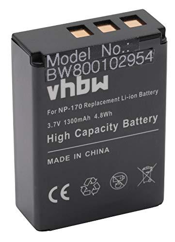 vhbw Akku kompatibel mit Digipo Aiptek CB-170, 084-07042L-062, AHD 2, AHD H23 Videokamera Camcorder (1300mAh, 3,7V, Li-Ion)