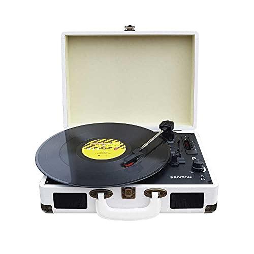PRIXTON VC400 - Tocadiscos de Vinilo Vintage, Reproductor de Vinilo y Reproductor de Musica Mediante Bluetooth y USB, 2 Altavoces Incorporados, Diseño de Maleta, Color Blanco