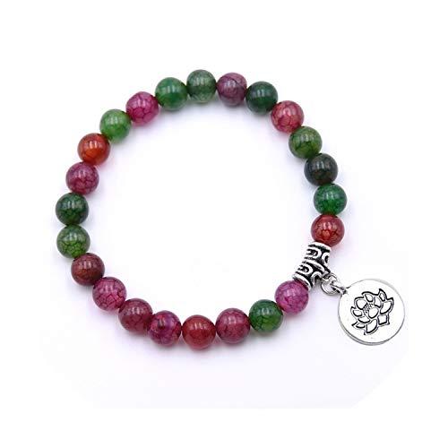 La Piedra Natural Lotus Buda Beads Mala de los Granos Amazonite Mate Pulsera brazaletes Pulseras para los Hombres de Las Mujeres de la Yoga Homme Femme Pulsera, Colorido