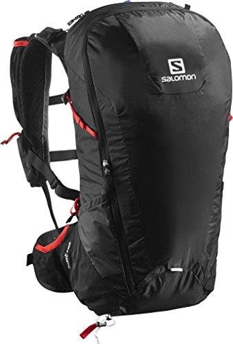 Salomon Peak 30 - Mochila 2 en 1, impermeable, 30 L, portador de bastones, 58x26x22 cm, negro/rojo