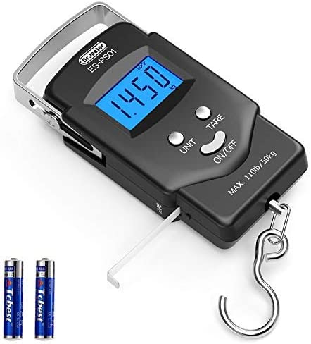 Dr.meter Backlit LCD Display 110lb/50kg Electronic Balance Digital Fishing Postal Hanging Hook Scale with Measuring T...