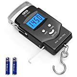 Dr.meter Backlit LCD Display 110lb/50kg Electronic Balance Digital Fishing Postal Hanging Hook Scale with Measuring Tape, 2 AAA Batteries Included