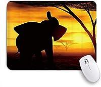 ZOMOY マウスパッド 個性的 おしゃれ 柔軟 かわいい ゴム製裏面 ゲーミングマウスパッド PC ノートパソコン オフィス用 デスクマット 滑り止め 耐久性が良い おもしろいパターン (アフリカ象の日没のシルエットアート)