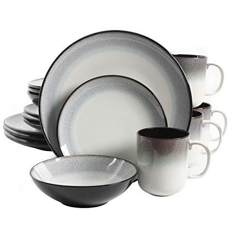 Gibson Elite Rings of Saturn Round Reactive Glaze Stoneware Dinnerware Set, Service for 4 (16pcs), Teal Blue