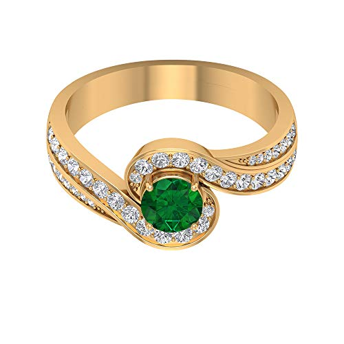 Anillo solitario de 5,00 mm de esmeralda, anillo de halo de diamante HI-SI con piedras laterales, anillo de derivación de oro (calidad AAA), 14K Oro amarillo, Size:EU 60