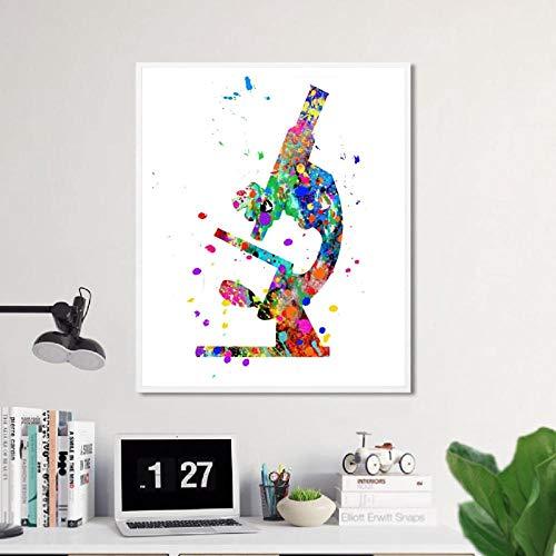 YDGG muurkunst canvas schilderij print afbeelding microscoop wetenschappers cadeaus microbiologie poster kantoor decor-50x70cmx1 stuk geen lijst