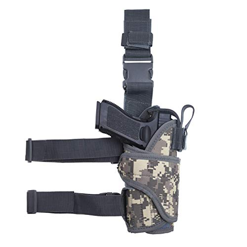 MUSVIKY Drop Leg Holster for Men Women, Right Handed Adjustable Tactical Thigh Pistol Gun Holster with Magazine Pouch