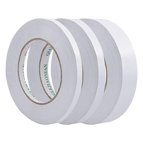 NATUCE 3 Rollos de Cinta de Doble Cara Cinta Adhesiva Fuerte para Scrapbooking Fabricación de Tarjetas Envoltura de Regalos Manualidades, 50 metros de largo, 7 mm / 12 mm / 24 mm de ancho