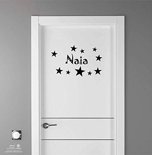 Artstickers Adhesivo Infantil para decoración de Muebles, Puertas, Paredes.Nombre: Naia, en Color Negro Nombre de 20cm + Kit de 10 Estrellas para Libre colocación.