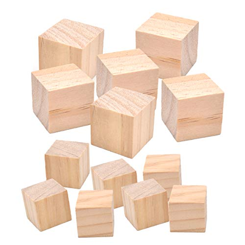 Liwein 40 Piezas Cubos Naturales de Madera,Bloques Cuadrados de Madera Cubos Pequeños Lisos Sin Acabar para Artesanías Proyectos Bricolaje Fabricación de Rompecabezas Niños(20mm 30mm)