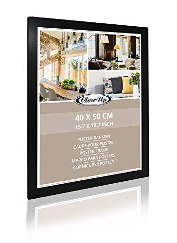 Close Up Posterrahmen 40 x 50 cm - MDF - schwarz, matt - Bilderrahmen mit bruchsicherem Plexiglas & stabile Rückwand - Bilderrahmen für Kunstdrucke & Miniprint
