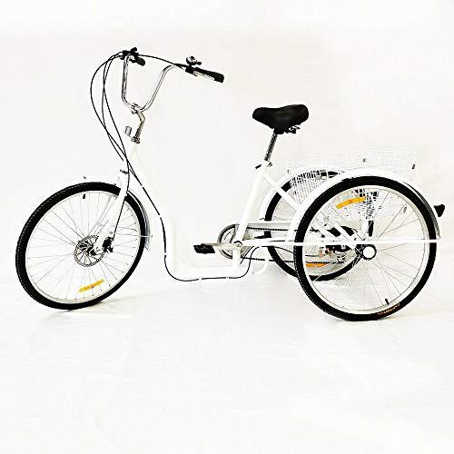"""SHIOUCY 26\"""" 3 Rad Erwachsene Fahrrad Dreirad Trike Cruise Bike Sattel Flexibel 6 Geschwindigkeit Korb Dreirad Pedal Warenkorb Lastenfahrrad, DHL"""