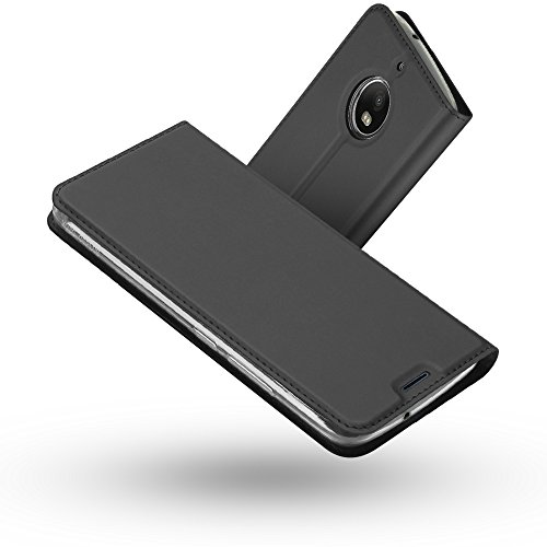Radoo Moto G5S Hülle, Premium PU Leder Handyhülle Brieftasche-Stil Magnetisch Klapphülle Etui Brieftasche Hülle Schutzhülle Tasche für Motorola Lenovo Moto G5S (2017) (Schwarz grau)