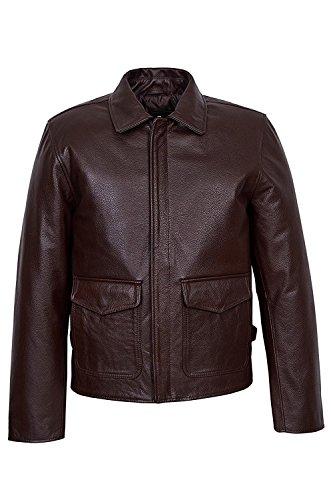 Smart Range Herren Indiana Jones Lässige Jacke im Stadt Stil Braun Klassische Weich Echte Lamm Fell Lederjacke (M)