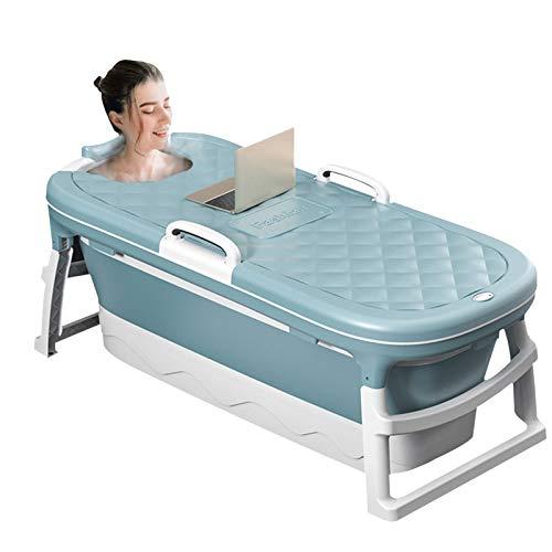 4YANG Bañera plegable,Bañera portátil de plástico para adultos de 54,3 pulgadas,Tina de plasticocon rodillos de masaje y cubierta de bañera con aislamiento térmico (azul)