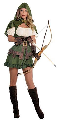 amscan 844571-55 Costume de Carnaval Robin des Bois pour Femme, avec Capuche, Multicolore, Taille S