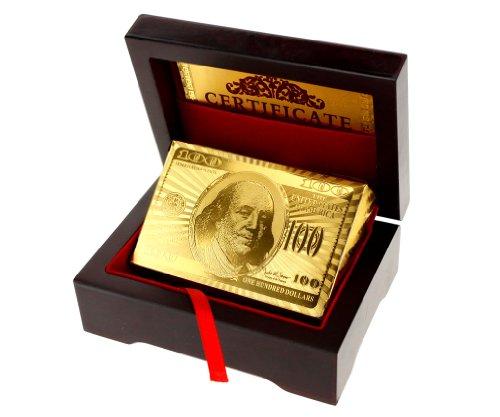 Other Micro Trader 24K Jeu de Cartes recouvert d'or 99,9 % Livré dans Un écrin en Bois Doré