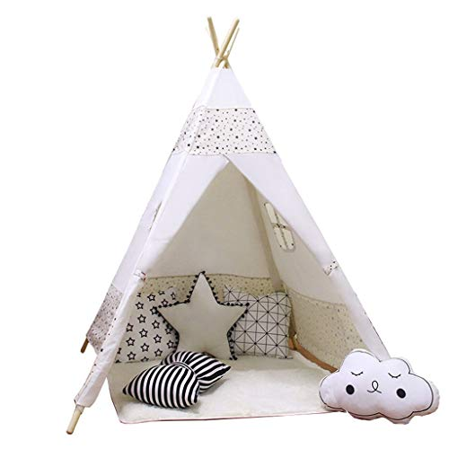 ANQIY Arts Play Tent, Cotton Canvas Household Indoor Girl Game House Reading Corner Foldable Installation Simple Children (Color : A)