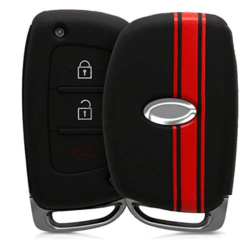 kwmobile Funda Compatible con Hyundai Kia Llave de Coche Keyless Go de 3 Botones - Carcasa Protectora Suave de Silicona - Rally