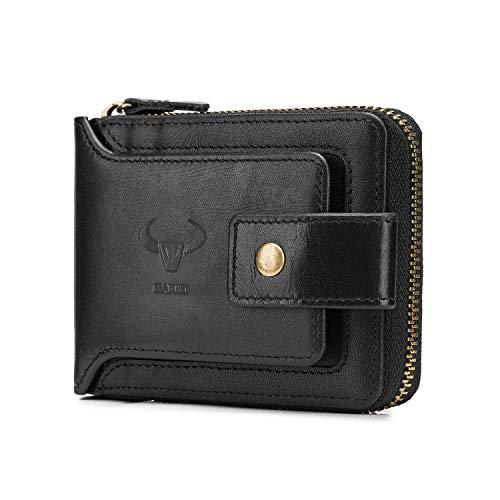 BAIGIO RFID Men Leather Zipper Wallet Zip Around Wallet Bifold Multi Card Holder Purse (Black)
