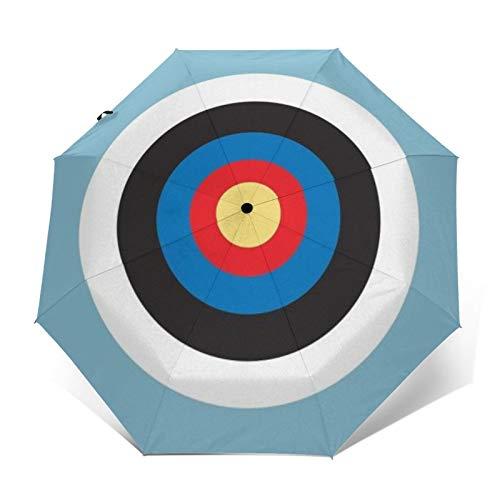 Automatischer, dreifach faltbarer Regenschirm mit 3D-Außen-Druck, Bulls Eye rechts auf Zielscheibe, Rundbogenschießen, Mod Hit auf Blau, winddicht, UV-Schutz, Regenschirme für den täglichen Gebrauch