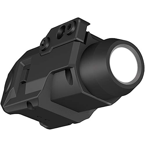 Laspur Sub Compact Tactical Rail Mount LED High Lumen Flashlight Light with Strobe for Pistol Handgun, Built-in USB Magnetic Touch Rechargeable Battery Accessory Remaining Display (Sensor Switch)