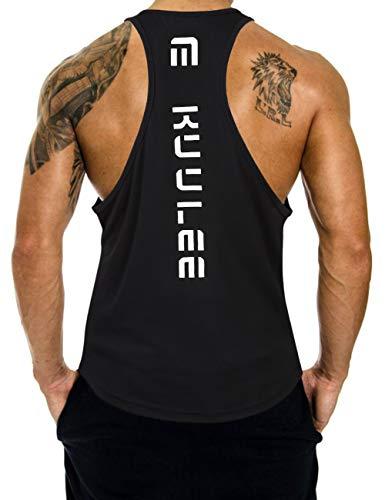 KUULEE Herren Gym Stringer Fitness Tank Top Herren Funktionelle Sport Bekleidung Bodybuilding T-Shirt Trainingsshirt ärmellos Weste Muskelshirt (Verpackung MEHRWEG), Schwarz, L / 38