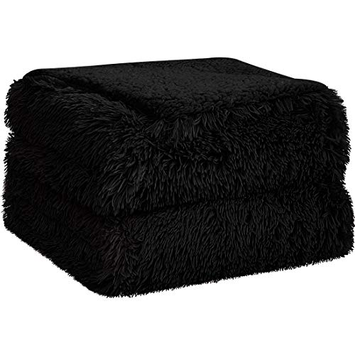 PiccoCasa Shaggy Faux Fur Blanket - Soft Warm Reversible Solid Sherpa Reverse Throw Blanket for Sofa, Couch and Bed - Luxury Plush Fluffy Fleece Blankets As Gifts (50x60 Inch, Black)